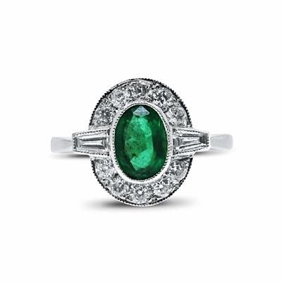 0.80ct Oval Emerald & Diamond Vintage Cluster Ring